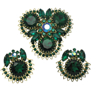 JUDY LEE Emerald Green Crystal Brooch Earrings Set