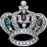 MAZER BROS Vintage Crystal Rhinestone Figural Crown Brooch