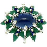 MIMI di N Emerald Sapphire Glass Cabochon Rhinestone Domed Brooch Pin