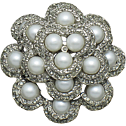 VENDOME Rhinestone Faux Pearl Layered 3-D Brooch Pin