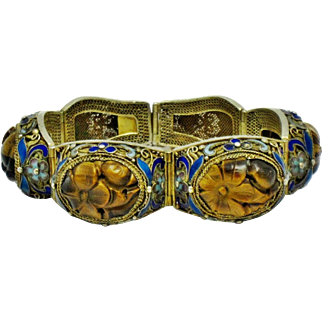 Antique Chinese Export Gilt Silver Carved Tigers Eye Bracelet