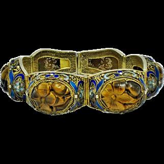 Antique Chinese Export Gilt Silver Carved Genuine Tigers Eye Bracelet