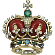 1953 TRIFARI Coronation Jewels Crown  Rhinestone Enamel Pin Brooch