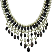 Signed Faux Pearl Black Bead Confetti Bib Fringe Necklace