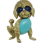 CROWN TRIFARI Glass Belly Vintage Poodle Figural Brooch Pin