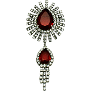 Gorgeous Vintage Ruby Red Crystal Rhinestone Dangle Brooch Pin