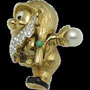 Rare JOMAZ Figural Dwarf Brooch Pin