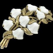 CROWN TRIFARI White Glass Beau Belles Floral Flower Brooch Pin