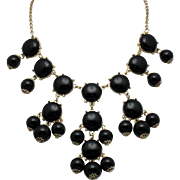 Vintage Black Lucite Gold Plated Drop Bib Necklace