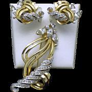Vintage MAZER BROS Rhinestone Brooch Earrings SET