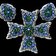 Vintage WEISS  Maltese Cross Brooch Earring SET