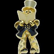 Extremely RARE  JOMAZ Caroler Enamel Figural Brooch Pin