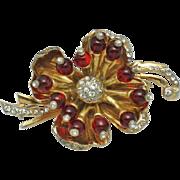 Vintage  DEJA REJA FLEURS  Red Glass Floral Brooch Very Rare