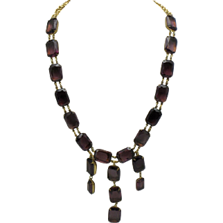 Gorgeous Signed CASTLECLIFF Amethyst Glass Bib Necklace