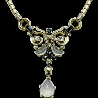 CROWN TRIFARI  Claire de Lune Necklace Moonstone Blue Rhinestone Glass
