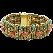 Vintage CINER Coral Turquoise Rhinestone Cabochon Bracelet