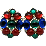 Vintage SCAASI Ruby, Emerald, Sapphire  Glass Moghul Clip Earrings