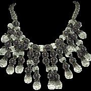 ART DECO  Glass Cabochon  Crystal Bib Fringe Necklace