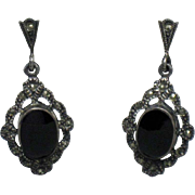 Sterling Silver 925 Marcasite ART DECO Black Onyx Dangle Post Earrings