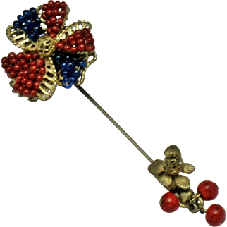 Signed MIRIAM HASKELL Glass Beaded Gilt Stick Pin