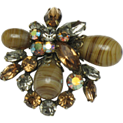 Signed REGENCY JEWELS Rhinestone Art Glass Brooch
