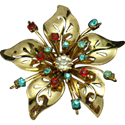 Coro Craft COROCRAFT Sterling  Flower Brooch Pin