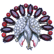Unsigned  REINAD Crystal Rhinestone Peacock Figural Brooch Pin 1930s