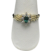 10K Yellow Gold Ladies Synthetic Emerald Ring With 4 Genuine Diamonds Signed