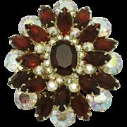 JULIANA - D&E  Red Crystal Aurora Borealis Rhinestone Brooch Pin