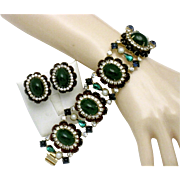 HATTIE CARNEGIE Faux Emerald Ruby Glass Cabochon Pearl 5 Link WIDE Bracelet and Earrings