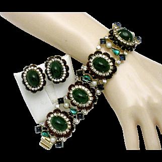 HATTIE CARNEGIE Faux Emerald Ruby  abochon Pearl 5 Link WIDE Bracelet and Earrings