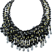 Chunky and Gorgeous Black and Gold Crystal Beaded Fringe Bib  Necklace