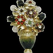 JUDITH LEIBER 24K GP  Flower Vase Brooch  Semi Precious Cabochons Original Box