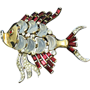Rare CROWN TRIFARI 'Alfred Philippe' Demilune Claire de Lune Moonstone Fish Brooch Pin