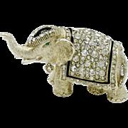 CINER Vintage Crystal Rhinestone Figural Elephant Brooch Pin