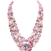 WEST GERMANY  Pink Givre Art Glass Crystal Triple Strand Necklace