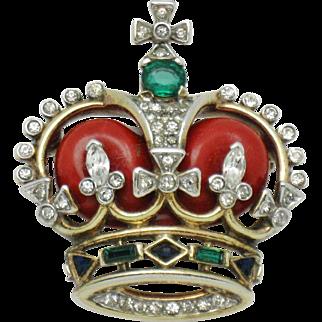 TRIFARI 1953 Coronation Gems Jewels Figural Crown Pin Brooch Vintage