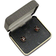 Vintage 14K Yellow Gold Oval Garnet Pierced Earrings