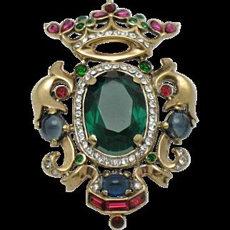 CROWN TRIFARI Sterling Vermeil Alfred Philippe Rhinestone Enamel Crown Shield Brooch Pin
