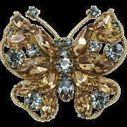 Vintage REGENCY Topaz Blue Rhinestone Butterfly Figural Brooch Pin