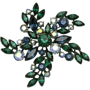 CLAUDETTE Vintage Emerald Sapphire Crystal Rhinestone Pinwheel Brooch Pin