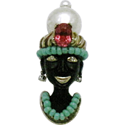 Signed  Vintage CINER Blackamoor Figural Brooch Pin