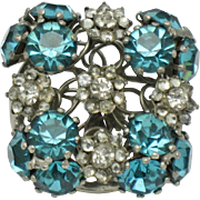 Signed VOGUE STERLING Silver Aqua Blue Crystal Rhinestone Pin Brooch Vintage