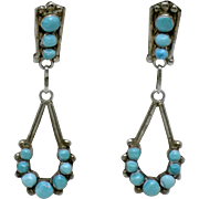Sterling Silver Faux Turquoise Beaded Dangle Post Earrings Vintage
