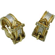 Rare CINER  Belt Buckle Gold Silver Rhinestone Clip Earrings
