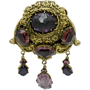 ART DECO Brass Repousse Amethyst  Crystal Dangle Dress Clip Pin Circa 1930s