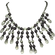 ART DECO Purple Glass Clear Faceted Crystal Bib Fringe Necklace