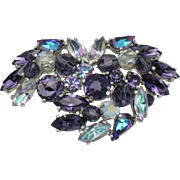 Signed SCHIAPARELLI Purple Vitrail Rhinestone Brooch Pin
