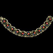 Vibrant Colorful Vintage Bookchain Victorian Revival Rhinestone Bracelet