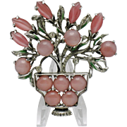 Large ART DECO Pink Moonstone Floral Flower Basket Figural Brooch Pin